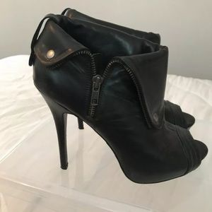 Aldo Black Leather Peep-toe Booties Size 41